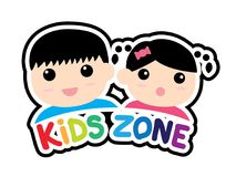 Sticker of Kids zone symbol isolated on white background. Royalty Free Stock Images