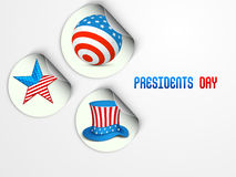 Sticker or label for American Presidents Day. Stock Photos