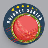 Sticker, label or badge for Cricket Series. Stylish sticker, label or badge design with ball and stars for Cricket Series vector illustration