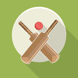 Sticker or label with bat and ball. Royalty Free Stock Photography