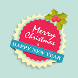 Sticker or label for Christmas and New Year celebration. Royalty Free Stock Photography
