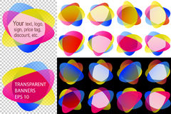 Sticker Label Colorful Round Shape Medal Banner Overlay Transparent Set. Labels in overlay transparency blend; Backdrops stickers from rounded shapes for your royalty free illustration