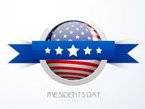 Sticker or label design for American Presidents Day celebration. Presidents Day celebration sticker or label design in American Flag color with blue ribbon on vector illustration