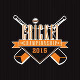 Sticker or label design for Cricket Championship 2015. Cricket Championship 2015 sticker or label design with bats and ball on black background Royalty Free Stock Photo