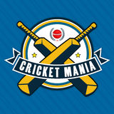 Sticker or label design for Cricket Mania. Stock Photo