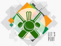 Sticker or label design for Cricket. Royalty Free Stock Photo
