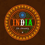 Sticker or label design for Indian Republic Day celebration. Beautiful floral decorated sticker or label design with national tricolor text India and Ashoka Stock Images