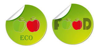 sticker label with hand drawn apples. Vector health food business logo illustration Stock Photos