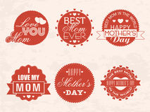 Sticker or label for Happy Mothers Day celebration. Royalty Free Stock Photos