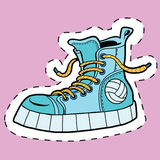 Sticker label sports rubber shoes Stock Photography