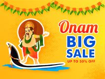 Sticker and label style, Onam festival Big Sale, Upto 50% discou. Nt offer, illustration of king mahabali holding traditional umbrella on snake boat, and vector illustration