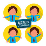 Sticker or label of young businessman avatar. Stylish sticker, tag or label of young businessman avatar in different pose Royalty Free Stock Images