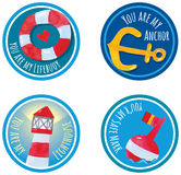 Sticker Labels marine theme watercolor hand Royalty Free Stock Photo