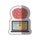 Sticker laptop and usb connected to brain. Illustration Royalty Free Stock Photos