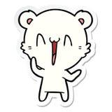 Sticker of a laughing polar bear cartoon. Illustrated sticker of a laughing polar bear cartoon royalty free illustration