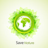 Sticker with leaves and globe for Save Nature concept. Stock Photos