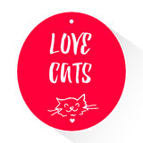Sticker with lettering text and head of a cat. Love cats. Vector Royalty Free Stock Photography