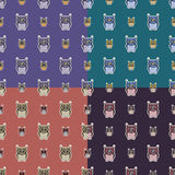 Sticker-like owls seamless patterns set. Nice and simple illustration Royalty Free Stock Photo
