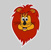 Sticker lion smiling on grey background head Royalty Free Stock Image