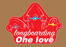 Sticker 3 longboards Royalty-vrije Stock Foto's