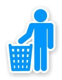 Sticker of man with a trash symbol Stock Photos