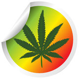 Sticker with marijuana leaf Royalty Free Stock Image