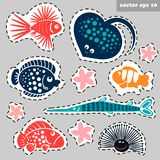 Sticker marine set. Marine creatures sticker set - stingray, lion fish, stone fish, sea urchin, sea star. Vector illustration for your designs, poster, children Royalty Free Stock Image