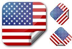 Sticker met de vlag van de V.S. Stock Afbeeldingen