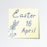 Sticker met de woorden Pasen en Konijntje Stock Foto's