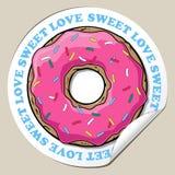 Sticker met doughnut. Royalty-vrije Stock Afbeeldingen