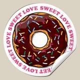 Sticker met doughnut. Stock Afbeeldingen