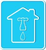 Sticker met huis, kraan en waterdaling Stock Afbeeldingen