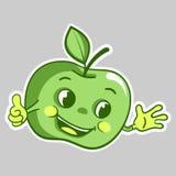 Sticker met karakter van de beeldverhaal het groene appel, die omhoog beduimelt Stock Afbeeldingen