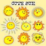 Sticker met leuke zon wordt geplaatst die stock afbeelding