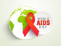 Sticker met rode lint of bol de voorlichtingsdag die van de Wereldhulp wordt geplaatst Royalty-vrije Stock Afbeelding