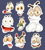 Sticker met verschillende gelaatsuitdrukkingen wordt geplaatst die royalty-vrije illustratie