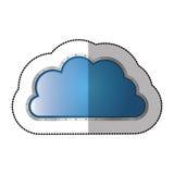 Sticker metallic cloud tridimensional in cumulus shape. Illustration Stock Images