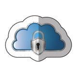 Sticker metallic cloud tridimensional in cumulus shape with padlock. Illustration Stock Image