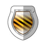 Sticker metallic rounded borders shield with colorful diagonal lines shape. Illustration vector illustration