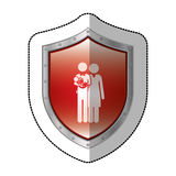 Sticker metallic shield with pictogram with parents and little baby in arms Royalty Free Stock Photo