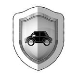 Sticker metallic shield with silhouette small automobile Royalty Free Stock Photo