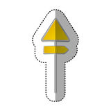 Sticker metallic yellow triangle shape traffic sign with direction board set Stock Photos
