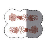 Sticker minimalistic background with flowers in row both sides Stock Photo