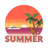 Sticker in modern flat design. The sun going down over the horizon is sunset. Summer background - sunset beach. Sea Stock Image