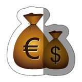 Sticker money bags with currency symbol dollar and euro Stock Photos