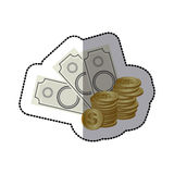 Sticker money bills and coins. Illustration Stock Images