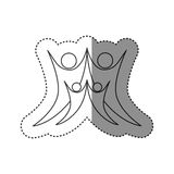 sticker of monochrome abstract contour of family group Stock Photo
