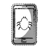 Sticker monochrome blurred with cell phone with virus beetle Stock Images
