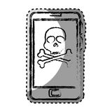 Sticker monochrome blurred with with cell phone with virus skull and bones Stock Images