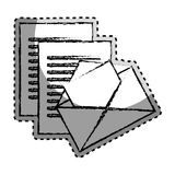 Sticker monochrome blurred with envelope mail and documents sheets Stock Image
